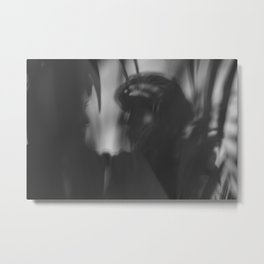 [26] Black and white shadows, woman and man, silhouette, forest, nature Metal Print