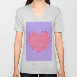 Minimal Heart Love Painting Smile Happiness Happy - Let's Be Kind Together Unisex V-Neck