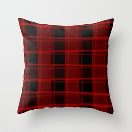 Strict strokes of light and red cells with bright stripes. Throw Pillow