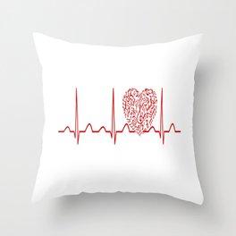 Music Teacher Heartbeat Throw Pillow