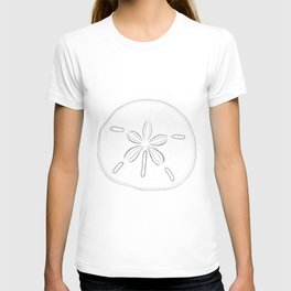 Sand Dollar Blessings - Black on White Pointilism Art T-shirt