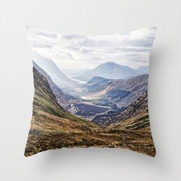 View of Glen Etive from Glencoe, Scotland Throw Pillow