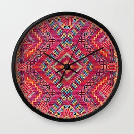 N118 - Pink Colored Oriental Traditional Bohemian Moroccan Artwork. Wall Clock