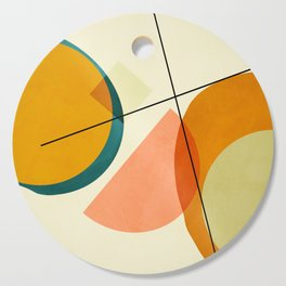 mid century geometric shapes painted abstract III Cutting Board