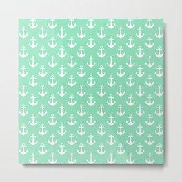 Anchors (White & Mint Pattern) Metal Print