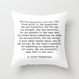 She Was Beautiful, F. Scott Fitzgerald, Quote Throw Pillow