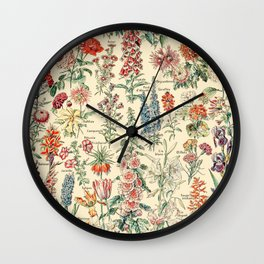 Vintage Floral Drawings // Fleurs by Adolphe Millot XL 19th Century Science Textbook Artwork Wall Clock