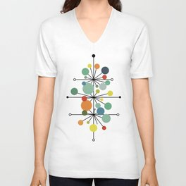 Atomic Age Nuclear Abstract Motif — Mid Century Modern Pattern Unisex V-Neck