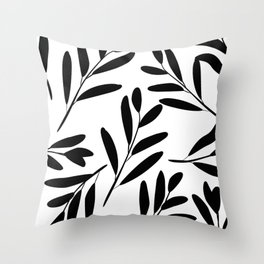 Prints of Leaves, Black and White Art Throw Pillow