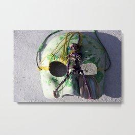 Skeleton Mask with Green Acrylic and Fibers Metal Print