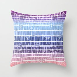 Low Poly Pink, Purple, and Blue Gradient Throw Pillow