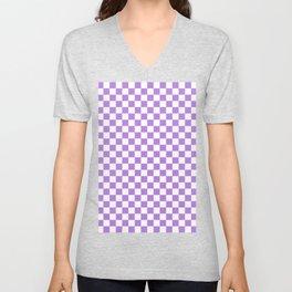 White and Lavender Violet Checkerboard Unisex V-Neck