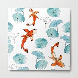 Waterlily koi Metal Print