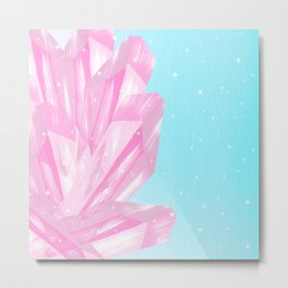 Sparkly Pinky Crystals Design Metal Print
