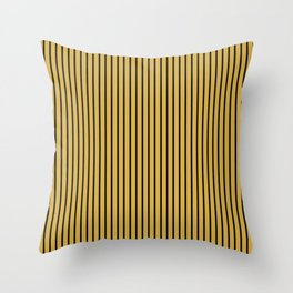 Spicy Mustard and Black Stripes Throw Pillow