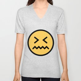 Smiley Face   Squeezing Look   Annoyed Face Unisex V-Neck