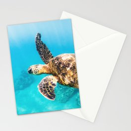 Sea Turtle In Maui Stationery Cards