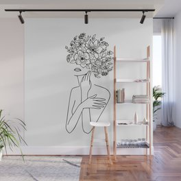 Woman With Flowers Minimal Line Art Wall Mural