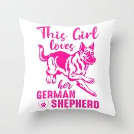 This Girl Loves Her German Shepherd mag Throw Pillow