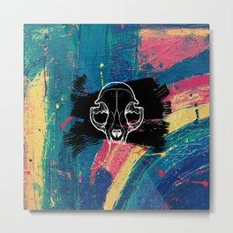 Rainbow Cat Skull Metal Print
