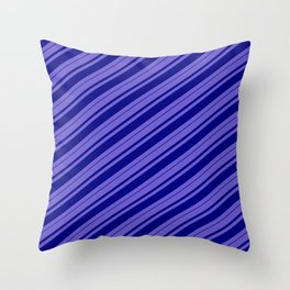 Slate Blue & Blue Colored Lined/Striped Pattern Throw Pillow