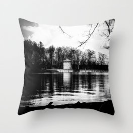 Möhne Reservoir Lake Tower bw Throw Pillow
