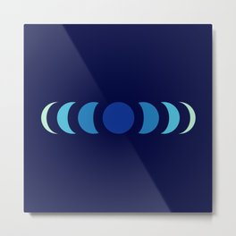 Abstract Minimal Blue Retro Style Moon Phase - Chikafuku Metal Print