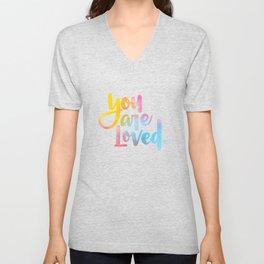 You are loved. (hand lettered) Unisex V-Neck