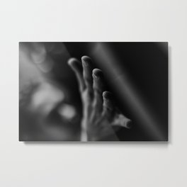 [19] Yoga practice, Practice time, human hand, body part, black and white Metal Print