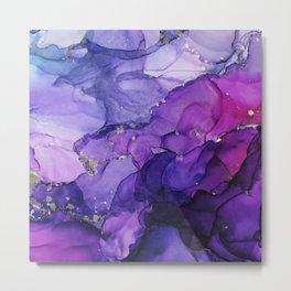 Violet Storm - Abstract Ink Metal Print
