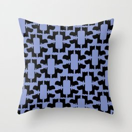 Scottie Dog Hex Pattern in Periwinkle Throw Pillow