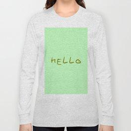 hello 6- green Long Sleeve T-shirt
