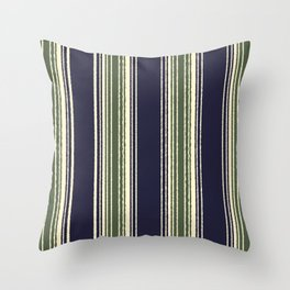 Navy blue and sage green stripes Throw Pillow