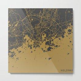 Helsinki Map ocher Metal Print