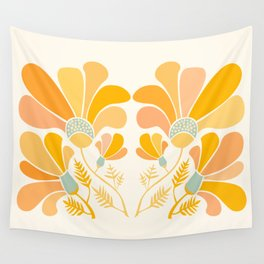 Summer Wildflowers in Golden Yellow Wall Tapestry