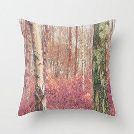 Silver Birch Woodland Throw Pillow