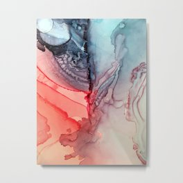 Undertow Meets Lava- Alcohol Ink Painting Metal Print