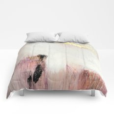 Sunrise [2]: a bright, colorful abstract piece in pink, gold, black,and white Comforters