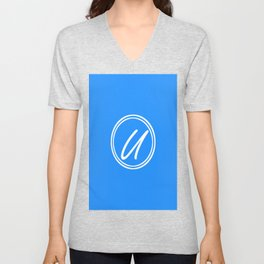 Monogram - Letter U on Dodger Blue Background Unisex V-Neck