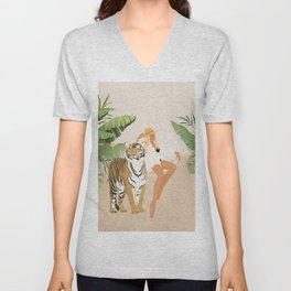 The Lady and the Tiger Unisex V-Neck