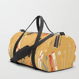 Bright Retro Skii Pattern Duffle Bag