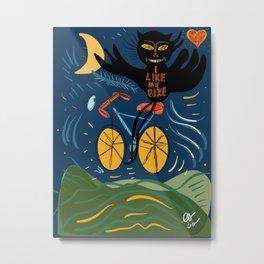 I Like my Bike Graffiti Street Art Cool Monster and The Moon  Metal Print