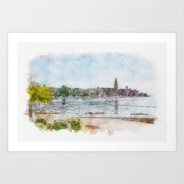 Aquarelle sketch art. View of beautiful Porec Old Town from Adriatic sea Art Print