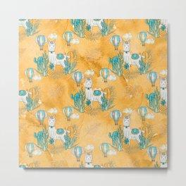 Cute Little Llama Yellow Pattern Metal Print