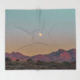 Sunset Moon Ridge // Grainy Red Mountain Range Desert Landscape Photography Yellow Fullmoon Blue Sky Throw Blanket