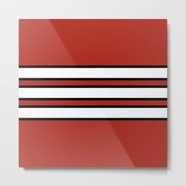 70s Style Red White Black Retro Stripes Nidaba Metal Print