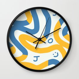 Joy in blue and yellow summer Wall Clock