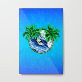 Tropical Surfer Metal Print