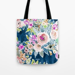 NAVY SO LUSCIOUS Colorful Watercolor Floral Tote Bag