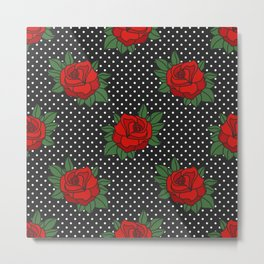 Rockabilly style roses on white polka dots pattern Metal Print